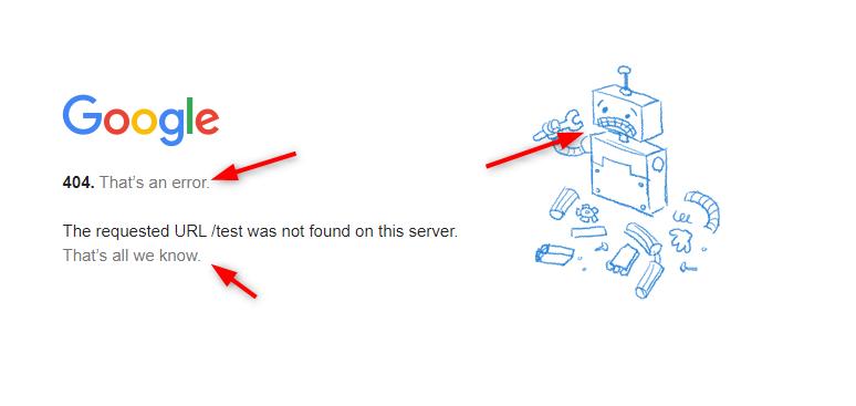 Google 404 site example