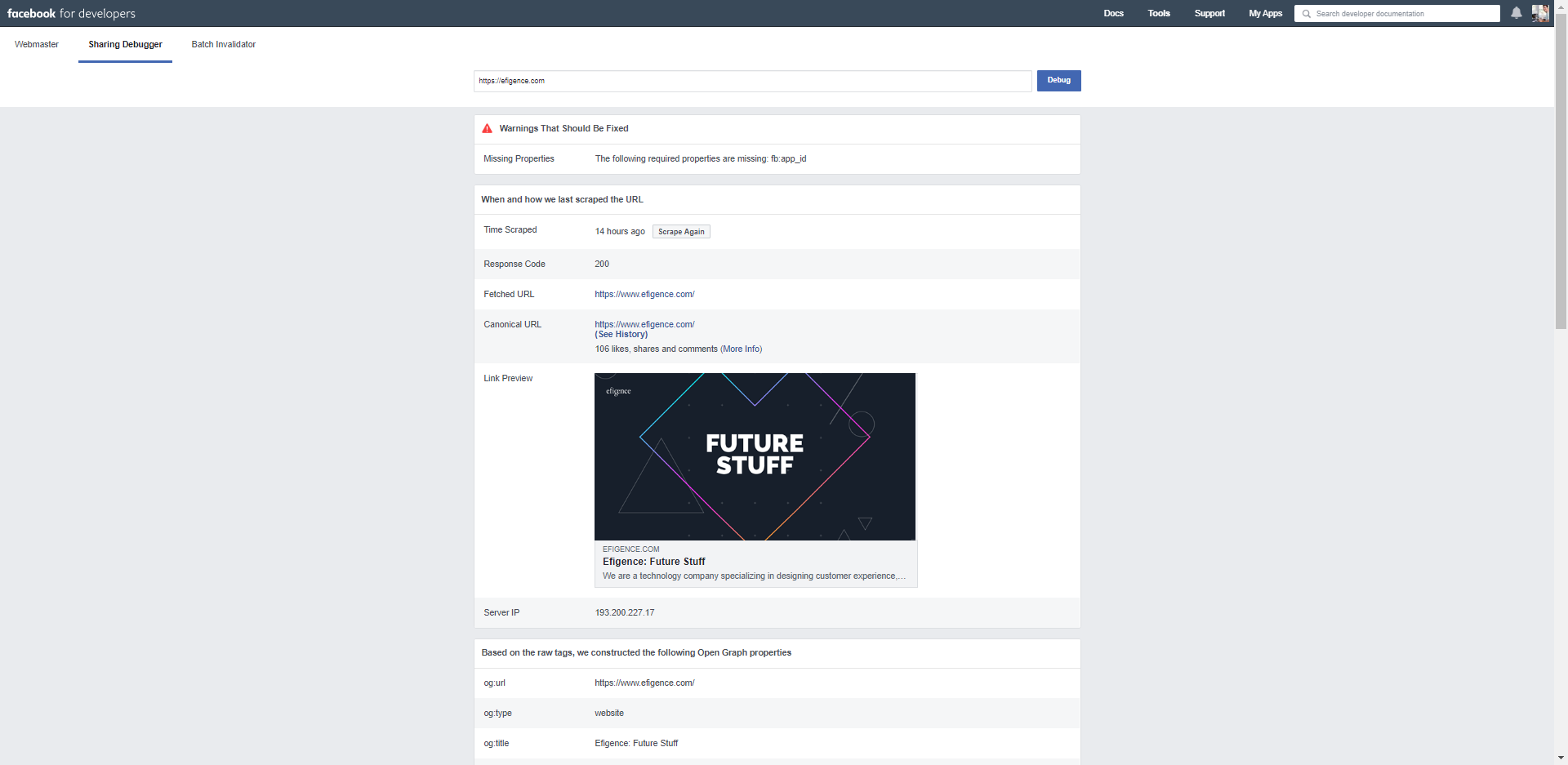 Facebook debugger site preview
