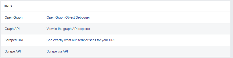 Facebook debugger links section