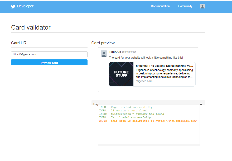 Twitter debugger site preview