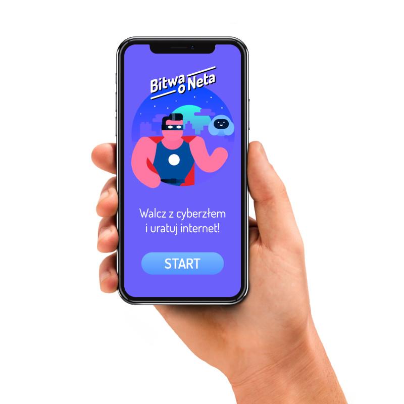 Gra mobilna Bitwa o Neta. Smartfon w ręce