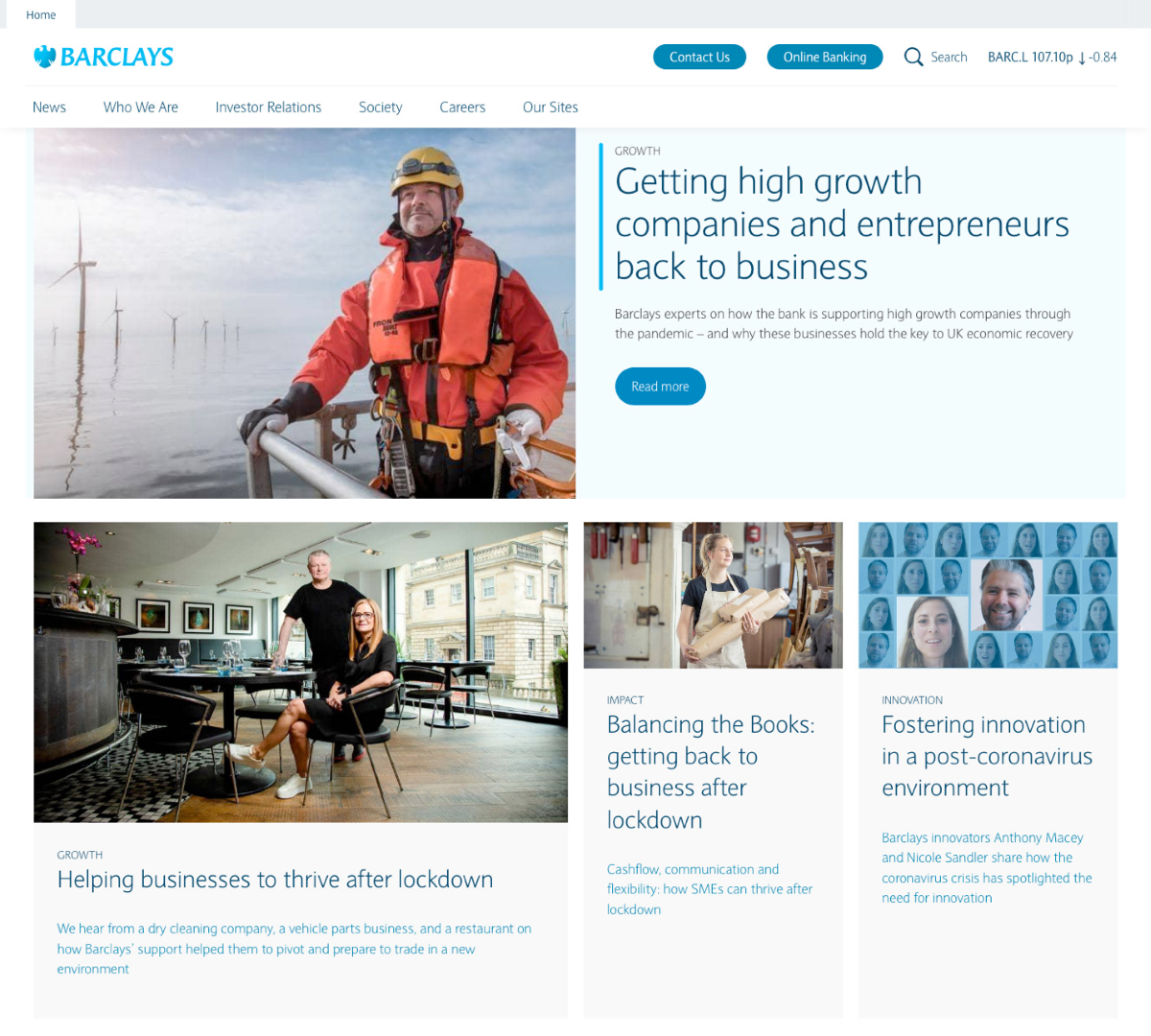 Screen of Barclays main page
