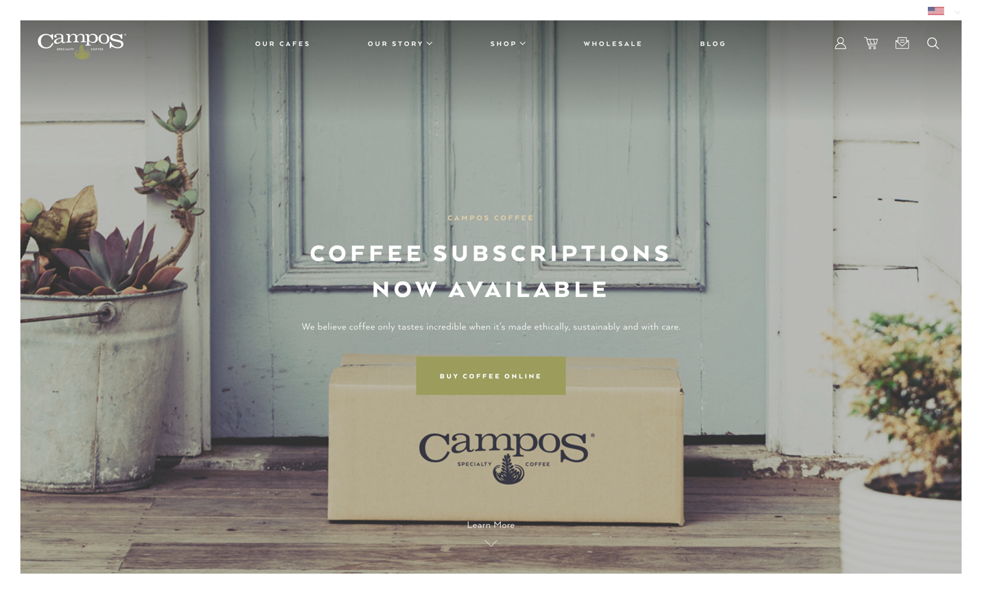 Screen of Campos' Coffee main page
