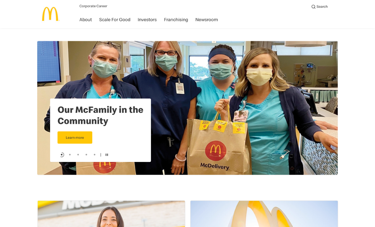 Main page of McDonald's corporate site
