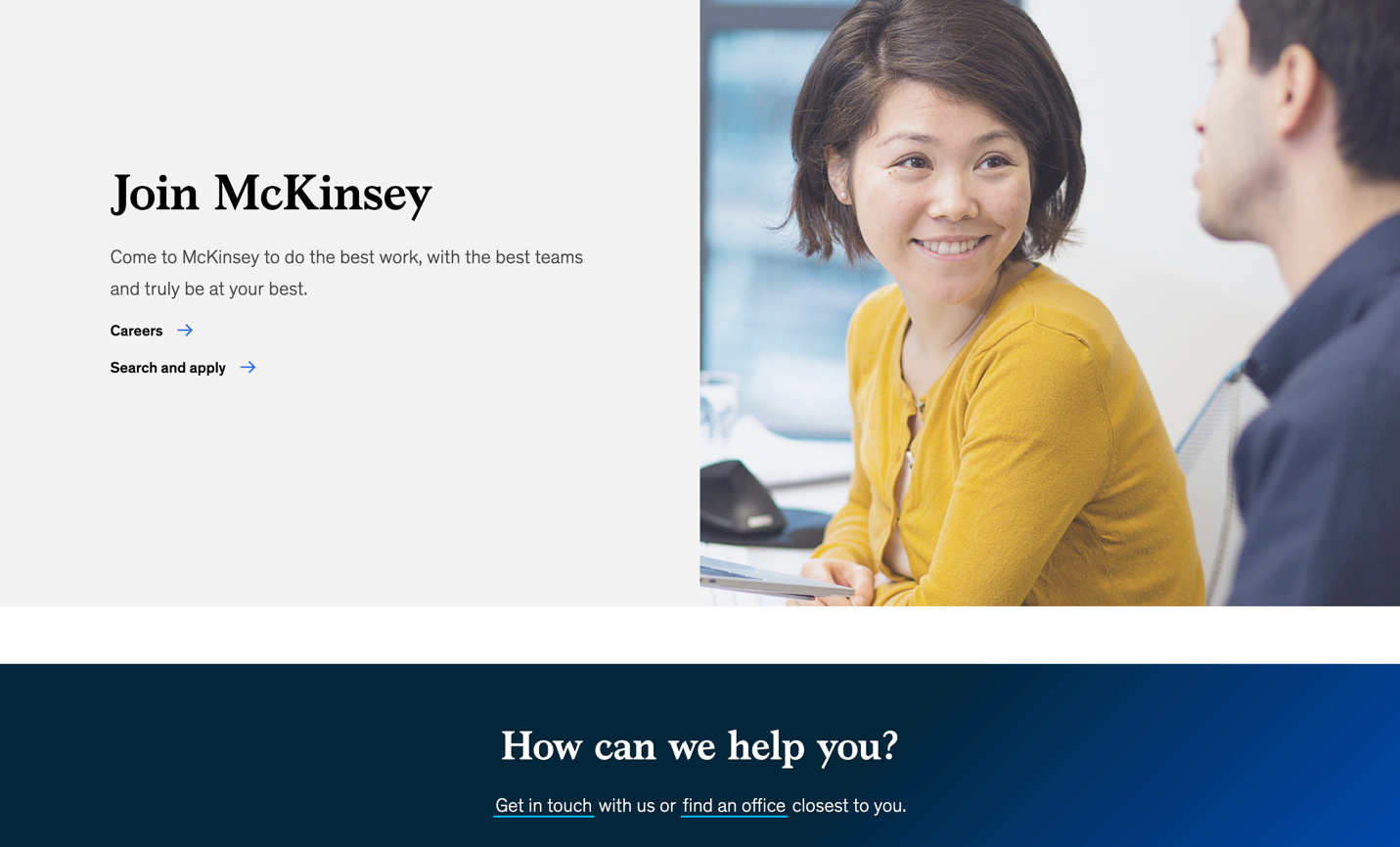 Screen of McKinsey main page