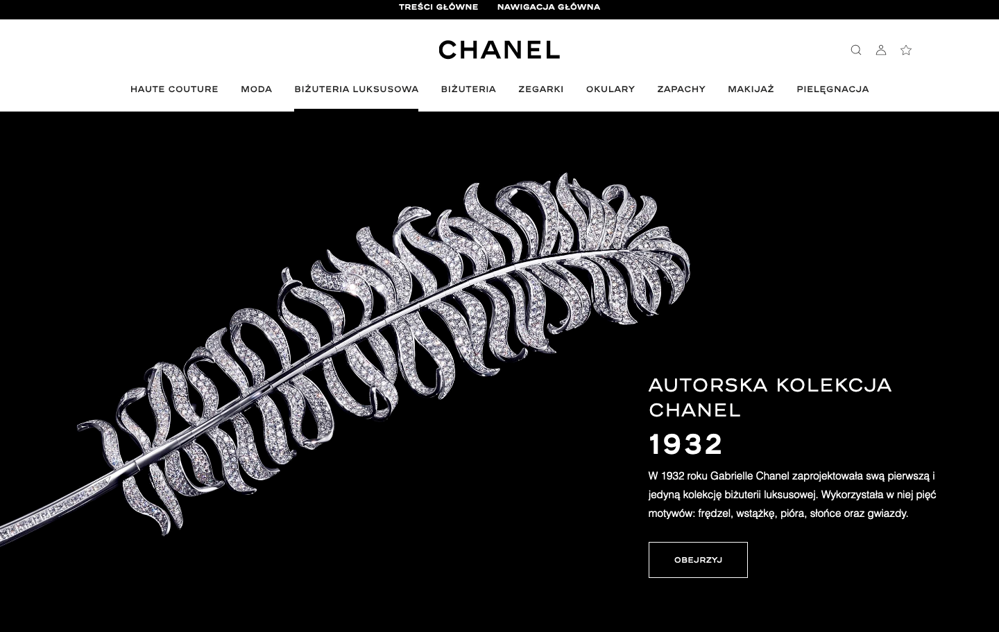 Screen of Chanel main page