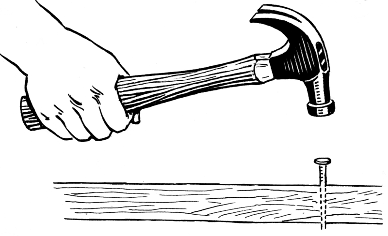 Illustration of the correct use of the hammer