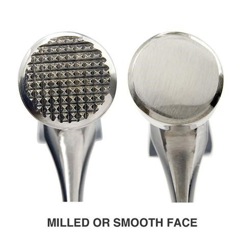 Milled and smooth face of hammer