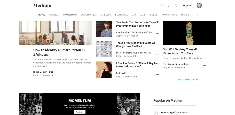 Screen of Medium main page