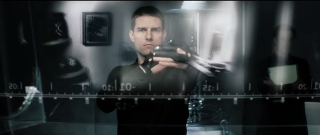 Frame from the Minority Raport movie with the main character who uses the interface of the future