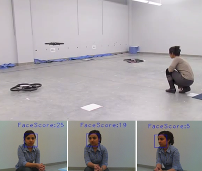 Record of a woman giving voice commands to robots