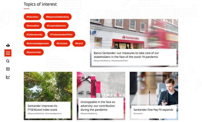 Screen of Santander Bank