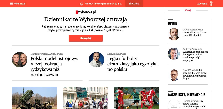 Screen of Wyborcza main page